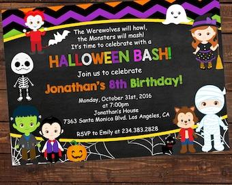 Halloween ticket birthday invitations kids party halloween