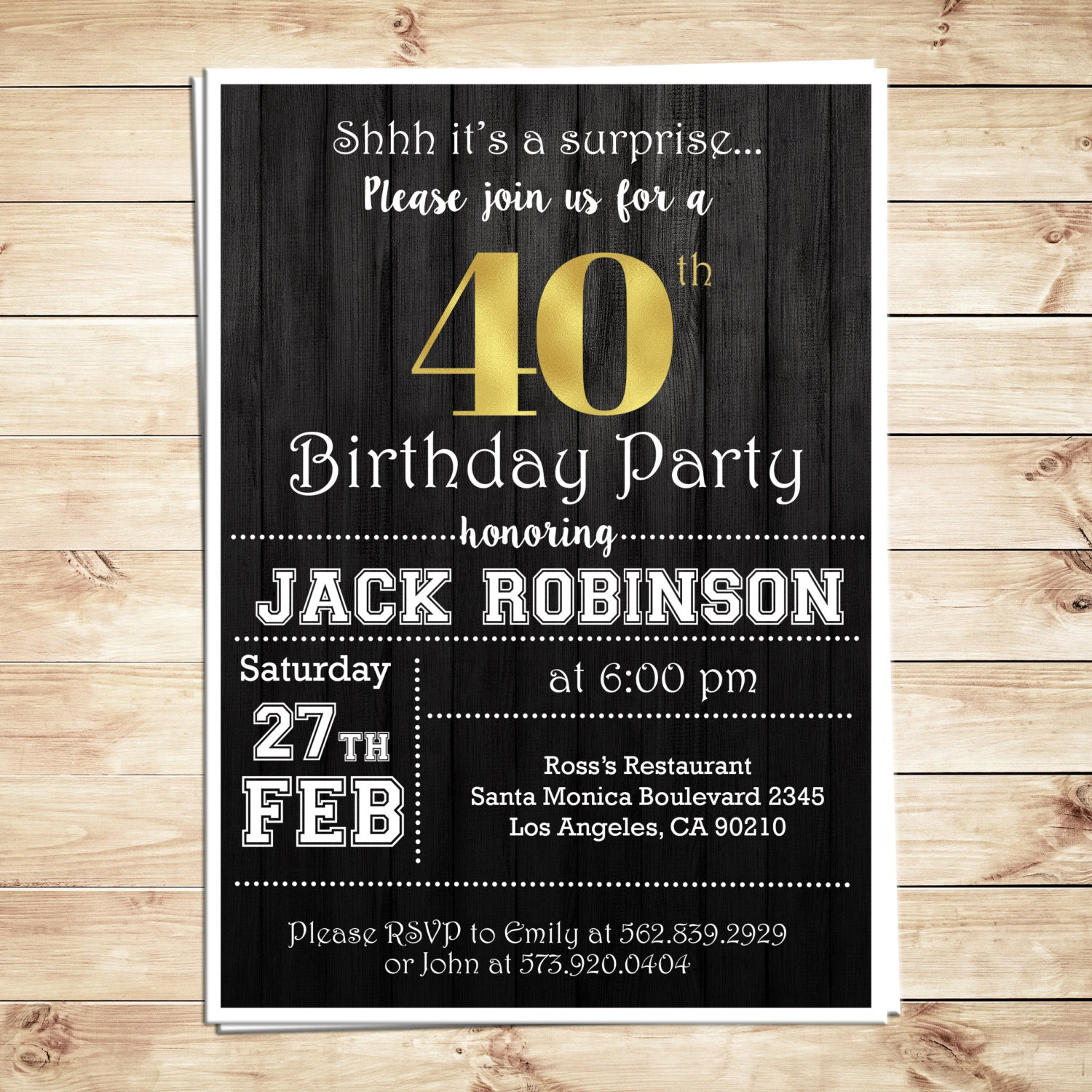 Surprise 40th Birthday Party Invitations For Him Men 40th