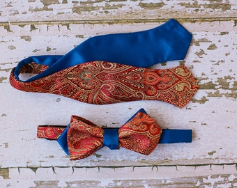 Mens Red Paisley Bow Tie