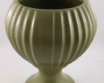 Vintage  Green Floraline USA 407 Pedestal Vase