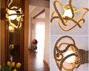 "Ceiling light / Wall light made from jute sailing rope, sconce, Jute Kraken 35cm (~14"") , industrial,nautical,loft lighting,marine style,"