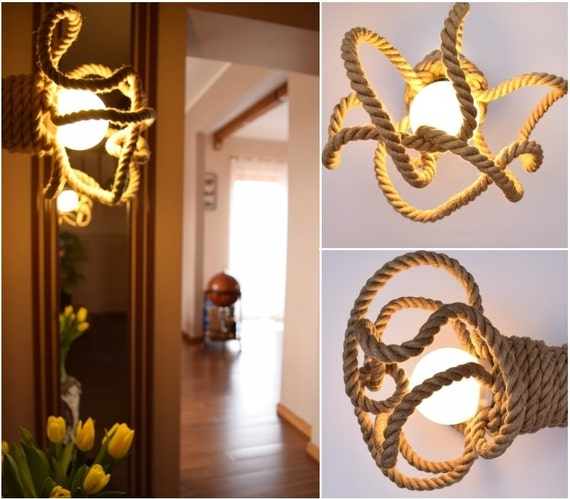 Wall Lights With Rope : Items similar to Ceiling light / Wall light made from jute sailing rope, sconce, Jute Kraken ...