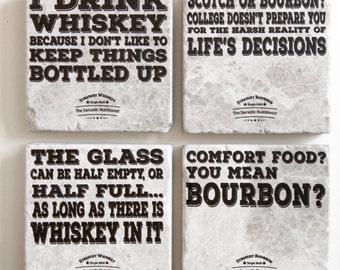 Bourbon and Whiskey Coaster Set (set of 4)