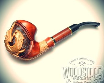 "Handcrafted tobacco pipe - ""Dragon"" wooden smoking pipe, wood pipe"