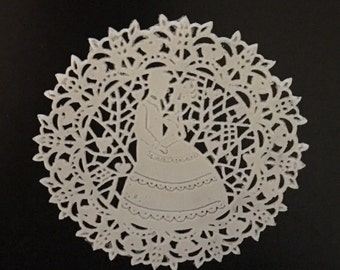 "12 Sugar Doilies Lace, Edible Cake Lace, bride and groom lace, wedding lace 3.5"" Applique (FREE SHIPPING)"