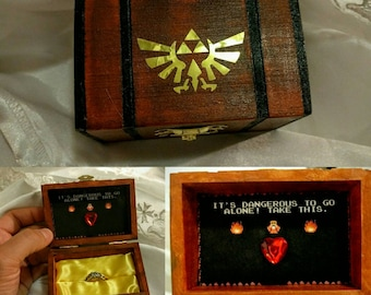 "Nintendo inspired Zelda Engagement Ring Box w/ Quote inside ""It's Dangerous to go alone!...Take this"". Hand painted and made to order 3X2x2"""