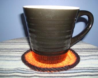 Orange Set of 4 Crocheted Coasters