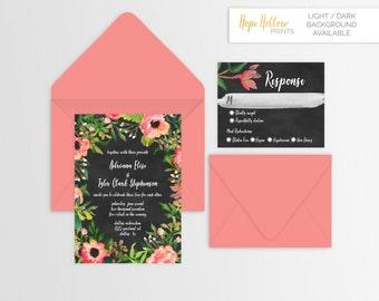 Floral Frame Wedding Suite - Set of 25 or Digital