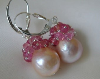 Pink Pearl with Pink Sapphire earrings