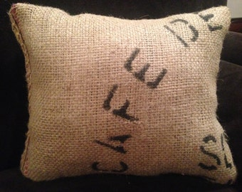 """Adorable 10x12 accent pillow - handcrafted from imported coffee sack - imprint """"CAFE"""" - pink accent on seam"""