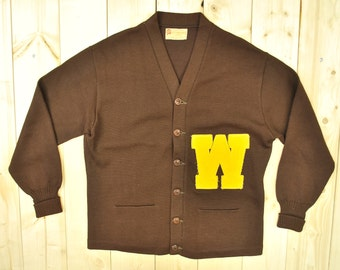 vintage 1950s60s wool w varsity letterman sweater hj whitings company retro collectable rare