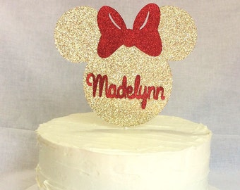 Gold and pink Minnie Mouse cake topper-Minnie mouse- gold glitter-smash cake- photo prop- birthday cake- 3-5 business days before is shipped