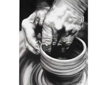 "Potter and Clay Isaiah 64:8 - Fine Art Giclee PRINT 8x10"" [Black and White, Oil Painting, Scripture]"