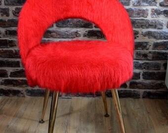 Chair red wig Pelfran, 1960, 1970, kitsch, feet compass