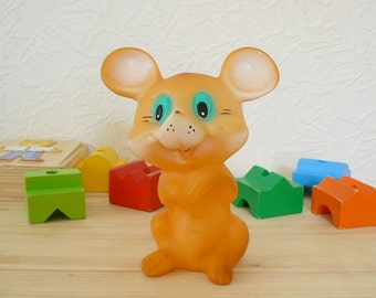 Vintage Russian Rubber Toy, Orange Mouse, Funny Mouse, Soviet Time Toy, USSR