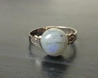 Labradorite Minimalist Ring - Adjustable