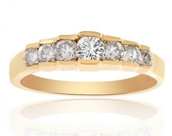 0.55 Carat Diamond Wedding Band 14K Yellow Gold Ring