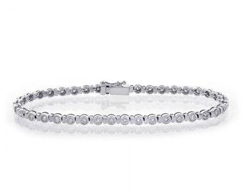 1.55 Carat Bezel Set Round Cut Diamond Tennis Bracelet 14K White Gold