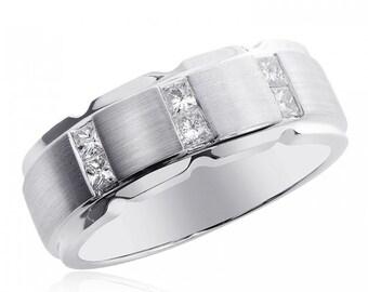 0.50 Carat Princess Cut Diamond Men Wedding Band 14K White Gold