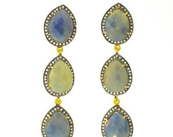 Multicolor Sapphire Earrings/ Gemstone Earrings/ Fancy Earrings