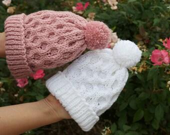 Handmade Children/Toddler Beanie Winter Hat with a Pom Pom