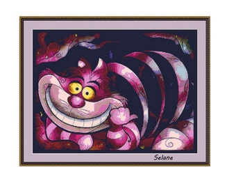 Cheshire Cat Cross Stitch Pattern, PDF counted cross stitch pattern,Alice in Wonderland
