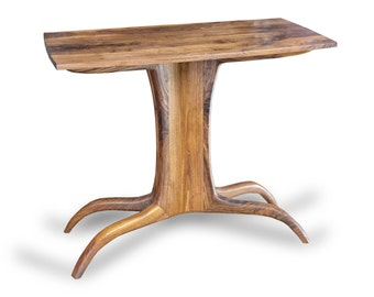 Walnut Sculpted End or Side Table Mid Modern Organic
