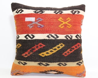 "embroidered pillow 16""x16""Turkish cushion cover throw pillow boho pillow Turkish rug pillow multicolor pillow kilim pillow SP4040-1312"