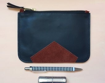 Handmade dark grey/blue & terracotta leather pouch - Very Limited Edition