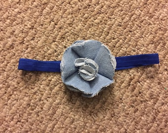 Blue headband with a Denim Flower
