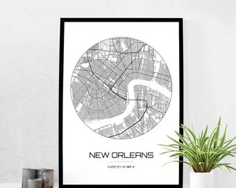 New Orleans Map Print City Map Art Of New Orleans Louisiana Poster Coordinates Wall