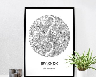 Bangkok Map Print - City Map Art of Bangkok Thailand Poster - Coordinates Wall Art Gift - Travel Map - Office Home Decor