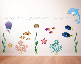 Underwater Scene Large Kids Wall Decal Sticker PC0324