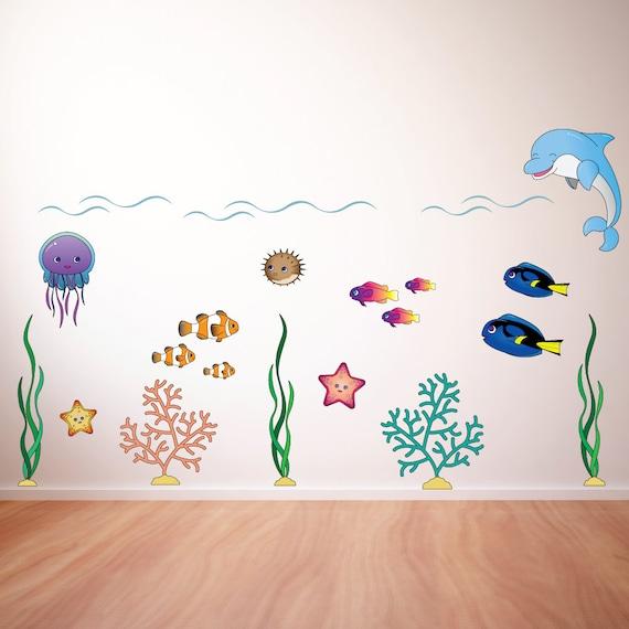 underwater scene small kids wall decal sticker pc0323 underwater dolphin fish bathroom kitchen wall sticker home