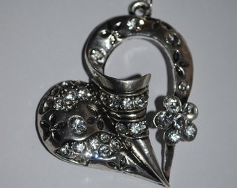 large silver plated heart pendant