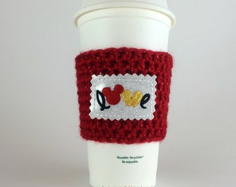 Mouse Love Coffee Cup Cozy / Crochet Coffee Sleeve / Reusable Cozie / Customizable