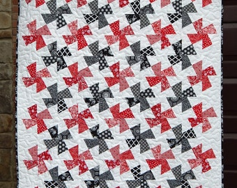 Black and Red Twister Modern Lap Quilt