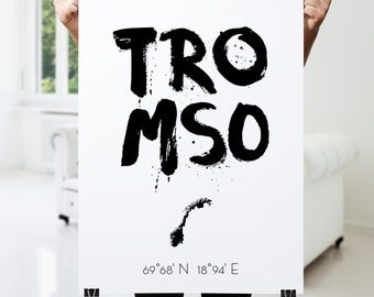 Tromsø Art, Modern Tromsø Poster, Norway, Wall Decor Print, Scandinavian Art, Black and White Art, Typography Poster Art Home  Wall Art