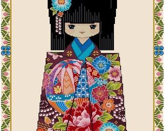 Chiyogami TEMARI -Cross Stitch Pdf Pattern