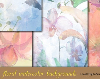 19 floral watercolor backgrounds INSTANT DOWNLOAD decoupage paper flowers printable 12x12 Scrapbook