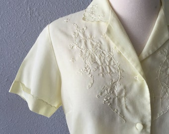 1970's Bohemian Embroidered Yellow Semi Sheer Lightweight Blouse by Daffodil