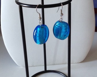 Blue glass and foil earrings