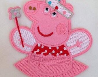 PEPPA PIG FAIRY Iron Sew On Patch Badge Tshirt Transfer Motif Applique Kids Baby