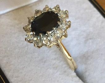 Vintage 9ct sapphire & cz ring