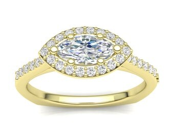 Yellow Gold Engagement Ring .25ct Round Diamonds, Marquise Halo Ring Semi Mount Shared Prong 0.50ct Marquise Center Brand New 14K Setting