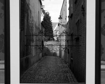 Back street in Brugge/Bruges, presented in Black and White, 18 x 12.
