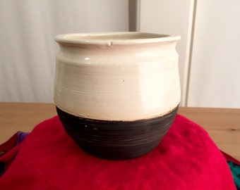 Tall Black & White Bowl