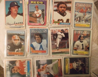 awesome selective vintage football and baseball 50 + cards decent condition 70's - 2010