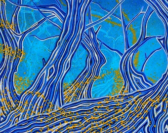 """Painting """"Blue forest"""""""
