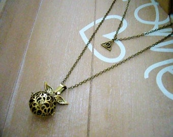 Two Layered Secret Message Necklace, Deathly Hallows Necklace, Magic Ball Necklace, Harry Potter Necklace, Golden Snitch Locket, Angel Wing
